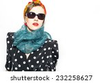 fashion woman in scarf and... | Shutterstock . vector #232258627