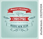 retro christmas illustration  ... | Shutterstock .eps vector #232292434
