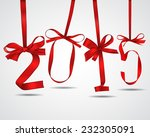 new year red ribbons greeting... | Shutterstock .eps vector #232305091