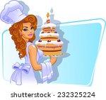 girl chef and cake | Shutterstock .eps vector #232325224