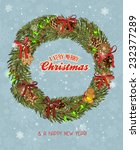 christmas wreath with garland ... | Shutterstock .eps vector #232377289