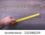 measuring wooden board close up