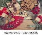 gingerbread cookies with...   Shutterstock . vector #232395535