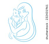 young woman holds your cat.... | Shutterstock .eps vector #232431961