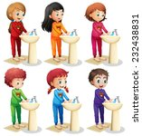 children washing hands before... | Shutterstock .eps vector #232438831
