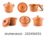 Clay Pot Isolated On White...