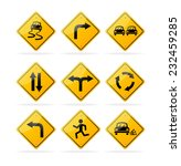 yellow road traffic signs set | Shutterstock . vector #232459285
