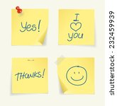 set of yellow sticky notes... | Shutterstock . vector #232459939