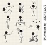 vector stick man  stick figure... | Shutterstock .eps vector #232461271