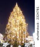 Giant christmas tree illuminated on the Main Market Square in Krakow - stock photo