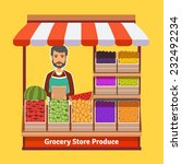 produce shop keeper. fruit and... | Shutterstock .eps vector #232492234