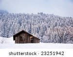Lonely barn in a winter landscape - stock photo
