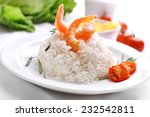 boiled rice with shrimps served ... | Shutterstock . vector #232542811