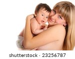 The beautiful woman  with baby on hands - stock photo