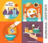 breakfast icons flat set with... | Shutterstock .eps vector #232573075