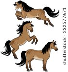A Set Of Three Cartoon Horses...