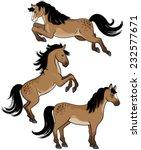 A Set Of Three Cartoon Horses...