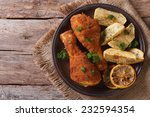 fried chicken legs dipped in... | Shutterstock . vector #232594354
