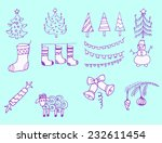 set of hand drawn outlined... | Shutterstock .eps vector #232611454