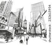 city hand drawn  vector... | Shutterstock .eps vector #232615954