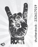 rock hand gesture on a gray... | Shutterstock .eps vector #232617019