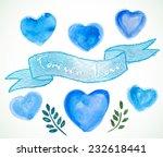 set of watercolor blue  hearts... | Shutterstock .eps vector #232618441