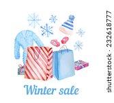 watercolor winter sale card....   Shutterstock .eps vector #232618777