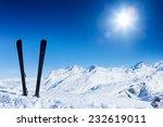 Pair Of Ski In Snow. Winter...