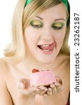 beautiful girl with cake in... | Shutterstock . vector #23262187