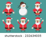 set of santa claus in flat... | Shutterstock .eps vector #232634035