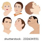 a set of six faces of children... | Shutterstock .eps vector #232634551
