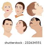 a set of six faces of children... | Shutterstock .eps vector #232634551