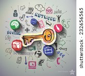 social network collage with... | Shutterstock .eps vector #232656565