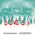 christmas greeting card. merry... | Shutterstock . vector #232682851