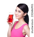 Young Happy Woman Drink Juice ...
