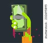 bank note in zombie hand.... | Shutterstock .eps vector #232695895