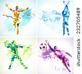 Set Silhouettes Soccer Player...