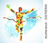 silhouette winner man and fans... | Shutterstock .eps vector #232705504