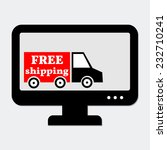 lorry with free shipping sign...   Shutterstock .eps vector #232710241