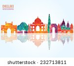 delhi skyline. vector...