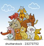 Stock vector cartoon illustration of large group of funny cats and dogs 23273752