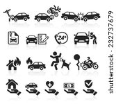 Insurance Icons Set. Vector...