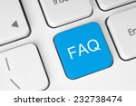faq button on white keyboard  | Shutterstock . vector #232738474