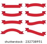 set of flat red ribbons. vector | Shutterstock .eps vector #232738951