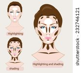 makeup highlighting and shading | Shutterstock .eps vector #232746121
