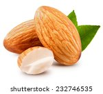 Tasty Almonds Nuts Isolated On...