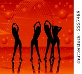 women dancing on stage  golden... | Shutterstock . vector #2327489