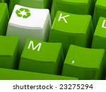 Recycle Symbol Button On Green...
