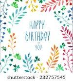 cute happy birthday card.... | Shutterstock .eps vector #232757545