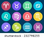 set of zodiac signs in circle...